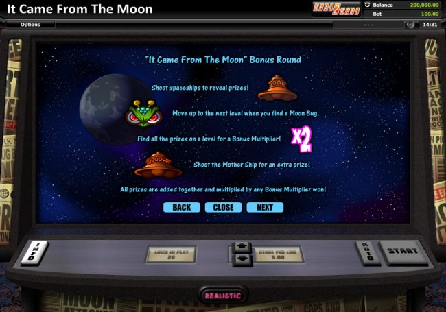 Prime Slots featuring the Video Slots It Came From The Moon with a maximum payout of $200,000