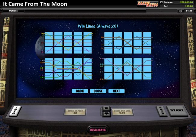 Red Queen featuring the Video Slots It Came From The Moon with a maximum payout of $200,000
