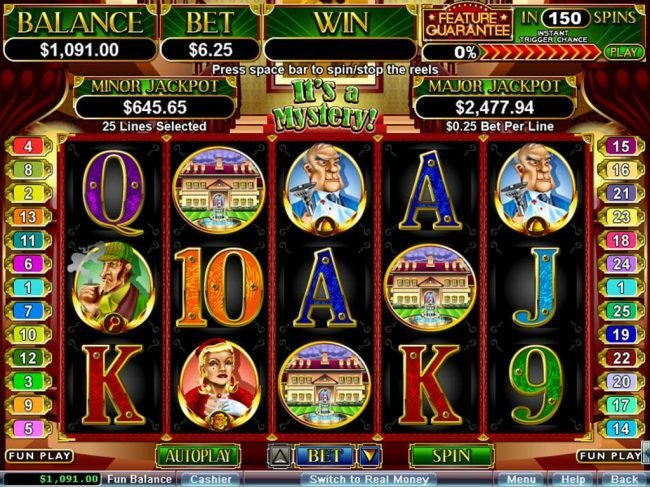 Bovegas featuring the Video Slots It's a Mystery with a maximum payout of $250,000