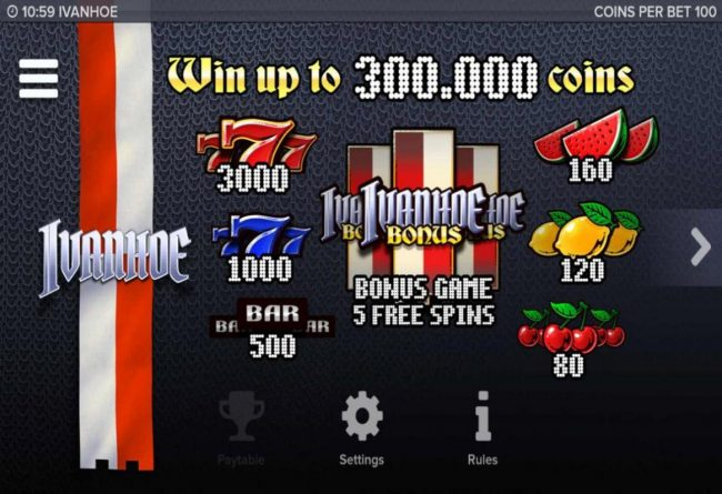 Egypt Slots featuring the Video Slots Ivanhoe with a maximum payout of $300,000