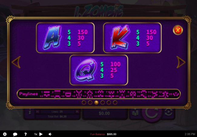 Palace of Chance featuring the Video Slots I, Zombie with a maximum payout of $12,500
