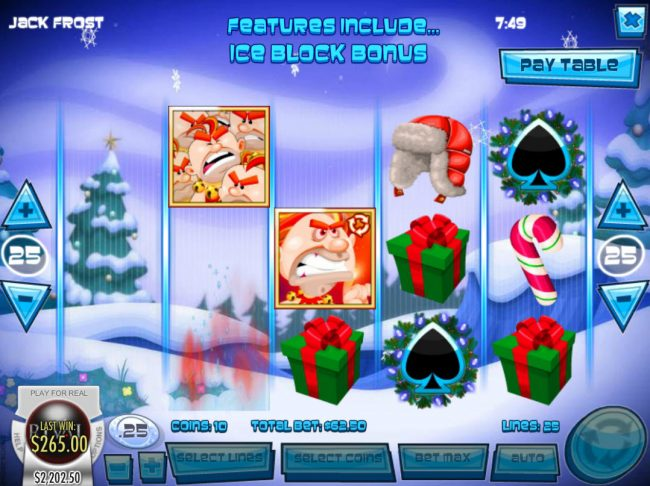 Slots LV featuring the Video Slots Jack Frost with a maximum payout of $31,250