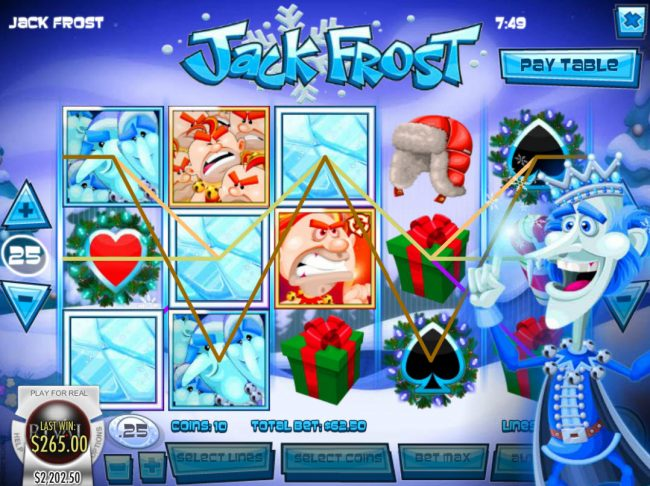 Unique Casino featuring the Video Slots Jack Frost with a maximum payout of $31,250