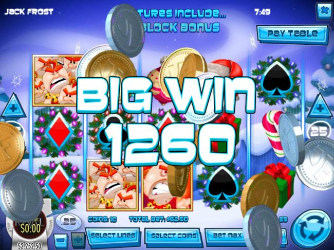Bodog featuring the Video Slots Jack Frost with a maximum payout of $31,250