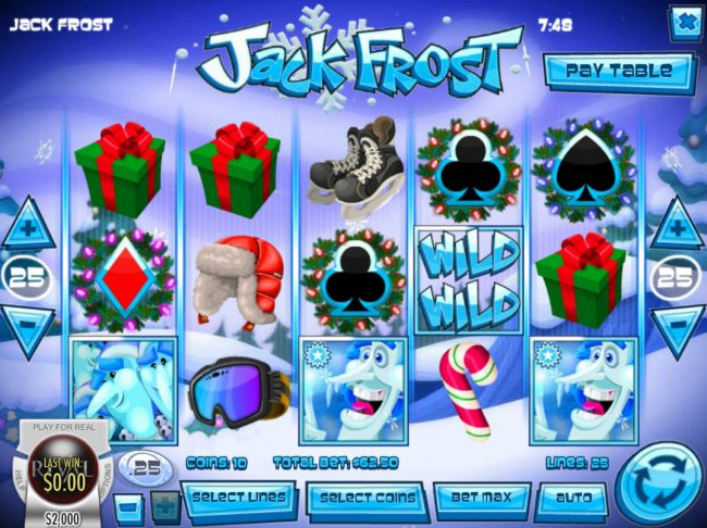 Box24 featuring the Video Slots Jack Frost with a maximum payout of $31,250