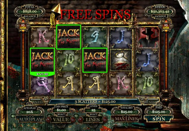 Platinum Reels featuring the Video Slots Jack the Ripper with a maximum payout of $10,000