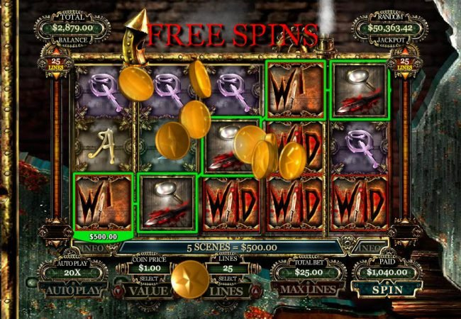 Royal Ace featuring the Video Slots Jack the Ripper with a maximum payout of $10,000