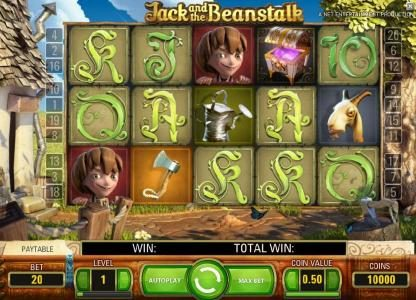 main game board five reels, twenty paylines and a chance to win up to 600000 coins
