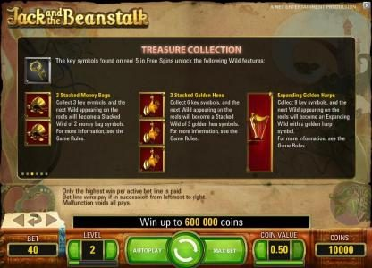 treasure collection - the key symbols found on reel 5 in free spins unlock the following wild features, 2 stacked money bags, 3 stacked golden hens and expanding golden harps