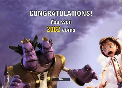 the free spins feature pays out a total of 2062 coins