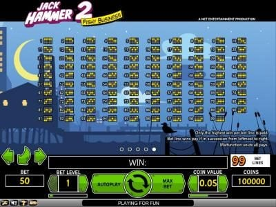 Fruity Vegas featuring the Video Slots Jack Hammer 2 - Fishy Business with a maximum payout of $495,000