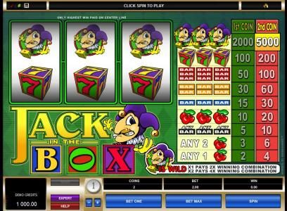 Winner Million featuring the Video Slots Jack in the Box with a maximum payout of $50,000