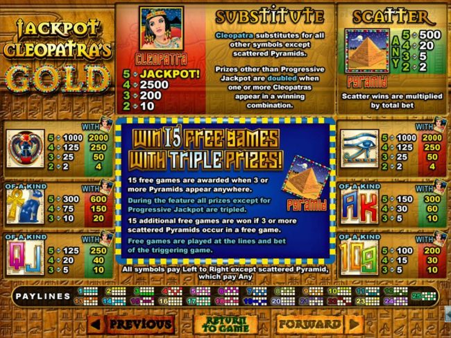 Slot game symbols paytable featuring ancient Egyptian themed icons.