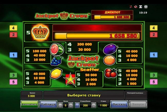 Jackpot Crown :: Slot game symbols paytable featuring fruit themed icons.