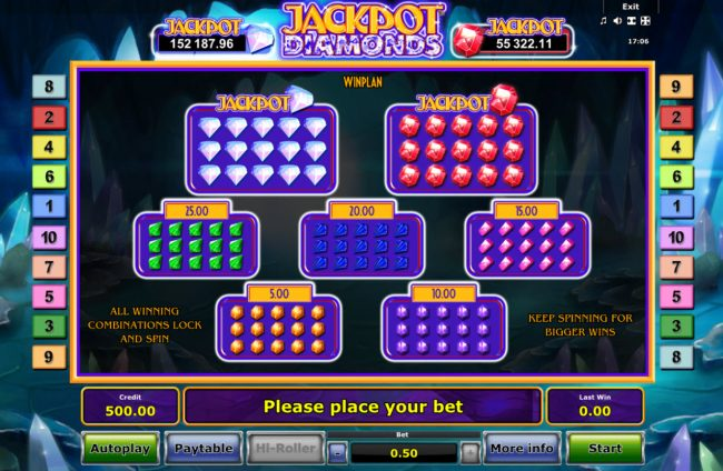 Winner Million featuring the Video Slots Jackpot Diamonds with a maximum payout of Jackpot