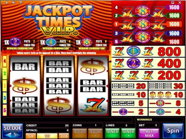 Campeon featuring the Video Slots Jackpot Times VIP with a maximum payout of $80,000
