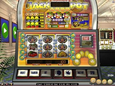 Jackpot 6000 :: three star symbols triggers a 100 coin big win