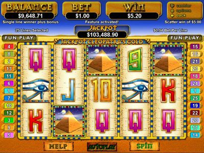 Cool Cat featuring the Video Slots Jackpot Cleopatra's Gold with a maximum payout of $12,500