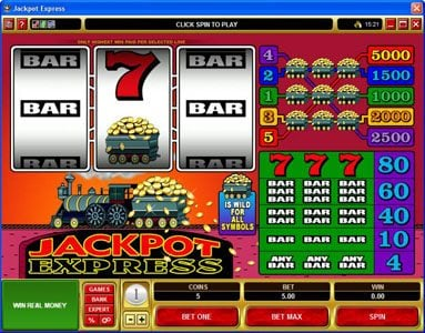 Yukon Gold featuring the Video Slots Jackpot Express with a maximum payout of $25,000