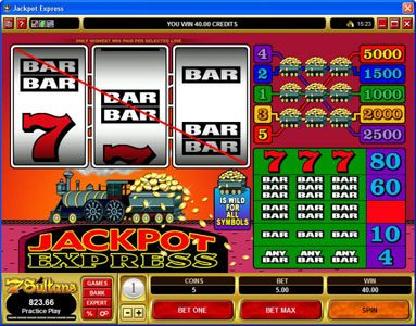 Grand Mondial featuring the Video Slots Jackpot Express with a maximum payout of $25,000