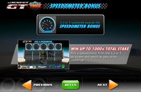 Speedometer symbol on reels 3, 4 and 5 scattered awards the Speedometer Bonus