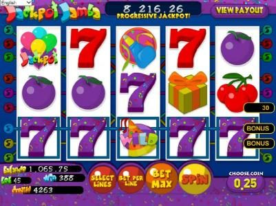 Enzo Casino featuring the Video Slots Jackpot Jamba with a maximum payout of $25,000