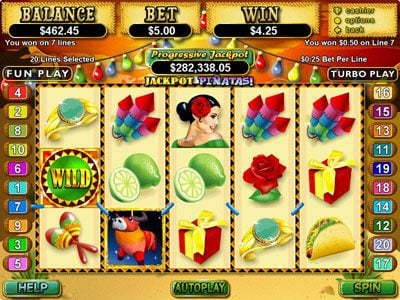 Play slots at Uptown Aces: Uptown Aces featuring the Video Slots Jackpot Pinatas with a maximum payout of $12,500