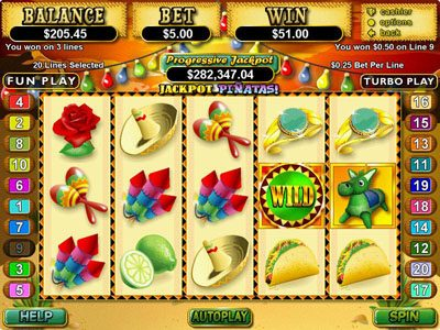 Lucky Red featuring the Video Slots Jackpot Pinatas with a maximum payout of $12,500