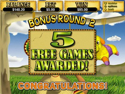 Play slots at Free Spin: Free Spin featuring the Video Slots Jackpot Pinatas with a maximum payout of $12,500