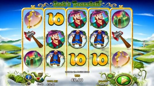 Play slots at Clover Casino: Clover Casino featuring the Video Slots Jack's Beanstalk with a maximum payout of $15,000