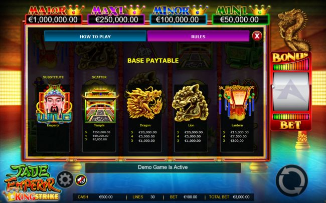 Play slots at iviCasino: iviCasino featuring the Video Slots Jade Emperor King Strike with a maximum payout of $150,000