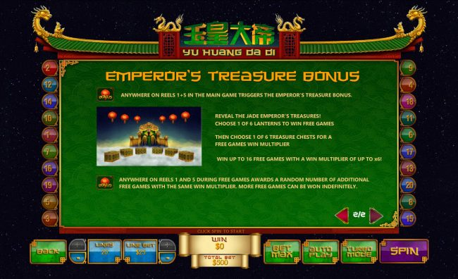 Grand Wild featuring the Video Slots Jade Emperor with a maximum payout of $250,000
