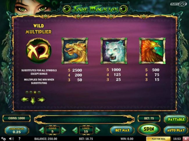 High value slot game symbols paytable featuring Asian celestial guardians themed icons.