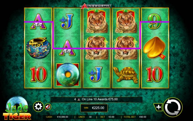 Karamba featuring the Video Slots Jade Tiger with a maximum payout of $150,000