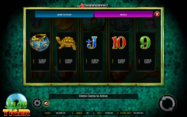 Casinia featuring the Video Slots Jade Tiger with a maximum payout of $150,000