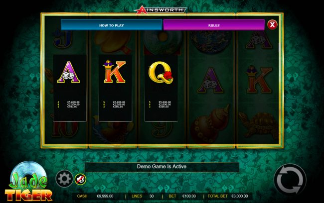Boo Casino featuring the Video Slots Jade Tiger with a maximum payout of $150,000