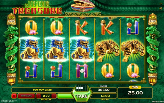 Vegas Crest featuring the Video Slots Jade Treasure with a maximum payout of $625