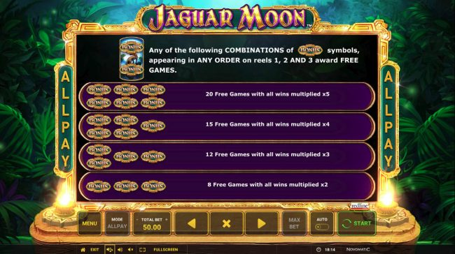 Play slots at Energy: Energy featuring the Video Slots Jaguar Moon with a maximum payout of $50,000