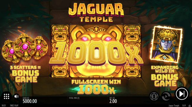 Casumo featuring the Video Slots Jaguar Temple with a maximum payout of $100,000