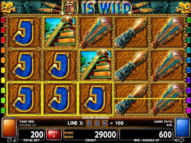 21 Nova featuring the Video Slots Jaguar Warrior with a maximum payout of $40,000