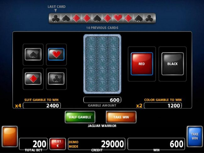 ZigZag777 featuring the Video Slots Jaguar Warrior with a maximum payout of $40,000