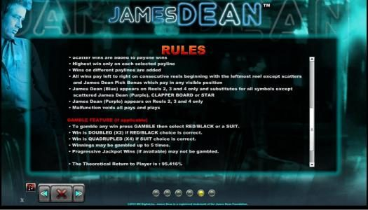 Party Casino featuring the Video Slots James Dean with a maximum payout of $12,500