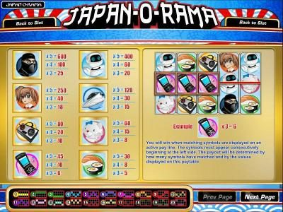 Golden Lady featuring the Video Slots Japan-O-Rama with a maximum payout of $2,500