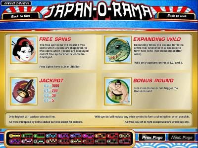 Sahara Sands featuring the Video Slots Japan-O-Rama with a maximum payout of $2,500
