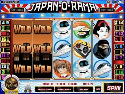Cafe featuring the Video Slots Japan-O-Rama with a maximum payout of $2,500