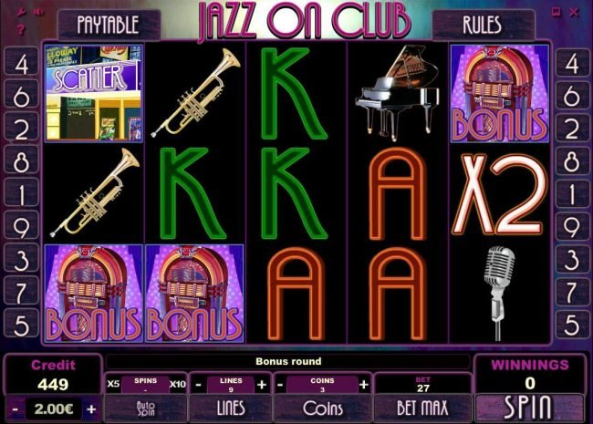 Malina featuring the Video Slots Jazz On Club with a maximum payout of $300,000