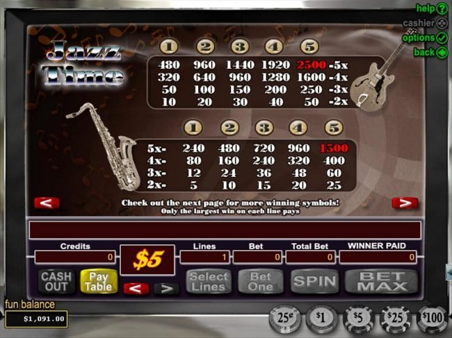 Club Player featuring the Video Slots Jazz Time with a maximum payout of $50,000