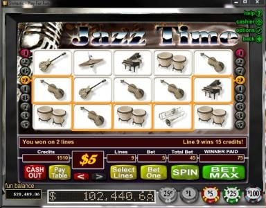 Sloto Cash featuring the Video Slots Jazz Time with a maximum payout of $50,000