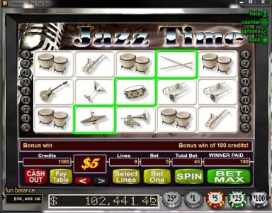 Las Vegas USA featuring the Video Slots Jazz Time with a maximum payout of $50,000