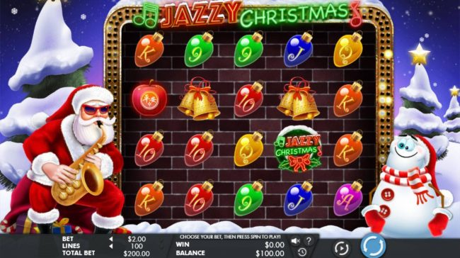 Lucky Dino featuring the Video Slots Jazzy Christmas with a maximum payout of $100,000